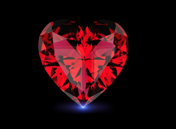 I love you. Heart shape gemstone